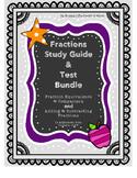 Fractions Study Guide & Test BUNDLE- Equivalent, Compariso