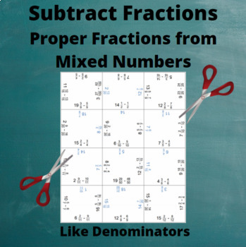 Fractions Puzzle : Subtract fractions from Mixed numbers: Like Denominators