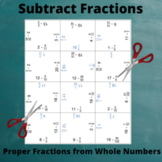 Fractions Puzzle : Subtract from Whole Numbers