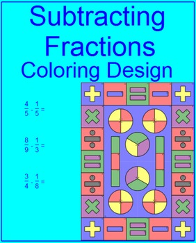 Fractions - Subtracting Proper Coloring Activity #1