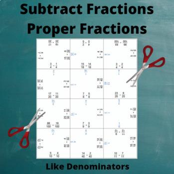 Fractions Subtraction Puzzle : Like Denominators