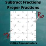 Fractions Subtraction Puzzle : Un-Like Denominators