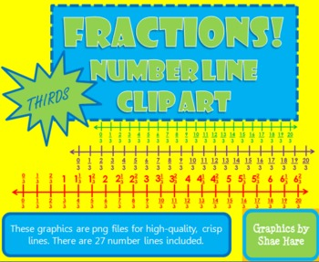 Fractions *THIRDS* Number Line Clip Art Common Core Math Work Station Center