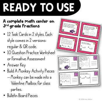 Fractions Task Card Math Center & Monkey Activity 3rd Grade Valentine