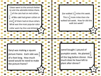Fractions Task Cards