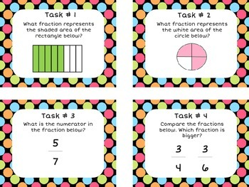 Fractions Task Cards (32 cards) - Math Center Activity