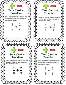 Fractions Addition and Subtraction Task Cards