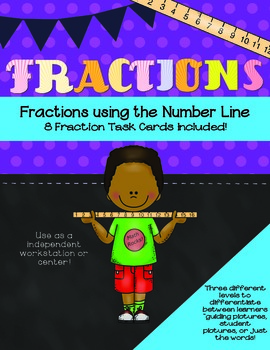 Fractions Task Cards B&W- Using the Number Line
