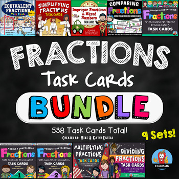 Fractions Task Cards BUNDLE {8 Sets}