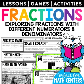 Fractions: Equivalent, Simplest Form, Mixed Numbers, Comparing - Math Task Cards