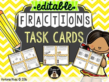 Fractions Task Cards {EDITABLE set}