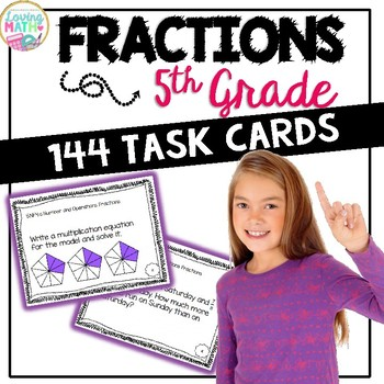 Fractions Task Cards Grade 5 - CCSS Aligned