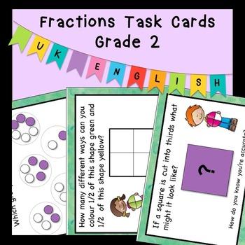 Problem Solving Word Problems Fraction Task Cards Grade 2 AUS UK