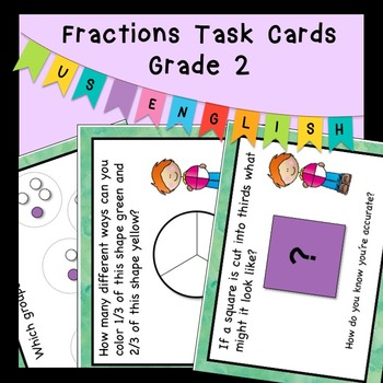 Problem Solving Word Problems Fraction Task Cards Grade 2 US