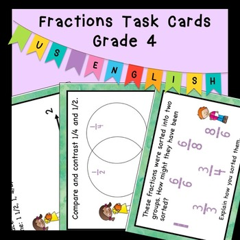 Open Ended Word Problems Fractions Task Cards Grade 4 US