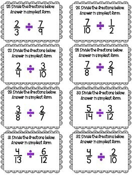 Fractions Task Cards- Mixed Review