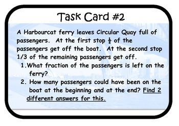 Fractions Task Cards Proportional Reasoning