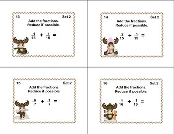 Fractions- Task Cards- Reducing, Addition, and Subtraction-Winter Theme