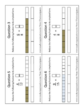 Fractions Task Cards   Reducing or Simplifying Fractions