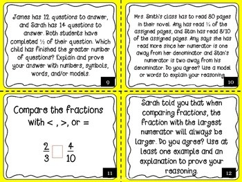 Fractions Task Cards Set 1 (Equivalent, Comparing, Ordering, Simplify)