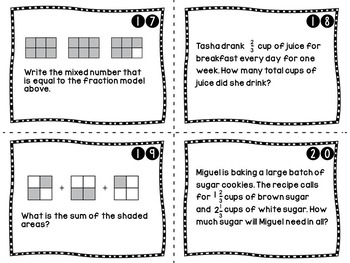 Fractions Word Problems Task Cards - Real World Contexts - CCSS Grades 4 & 5