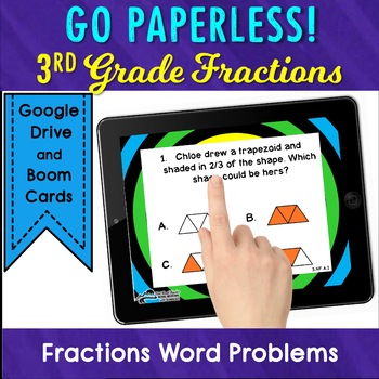 Fractions Task Cards with Word Problems and Fractions on a