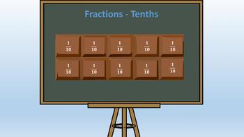 Fractions / Tenths PowerPoint Presentation - 80 Slides