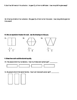Fractions Test (Aligned to Common Core)