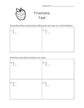 Fractions Test- Equivalent, Comparison, Adding & Subtracting