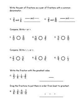 Go Math 4th Grade Chapter 6 Test - Fraction Equivalence and Comparison