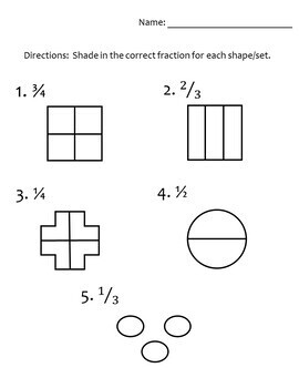 Fractions Test (Or practice or review) for halves, thirds, and fourths