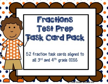 Fractions Task Cards: Test Prep Pack