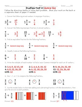 Fractions Test (TWO Forms)