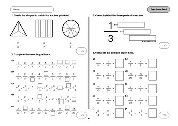 Fractions Test and Matching Practice Test - Bundle