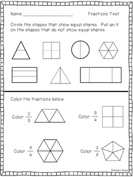 Fractions Test for the Primary Grades