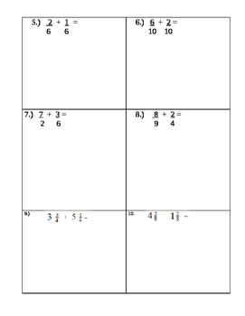 Fractions Test or practice- identify and addition