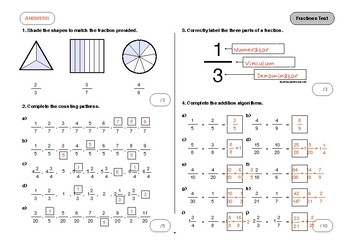 Fractions Test with Decimals and Percentage Component