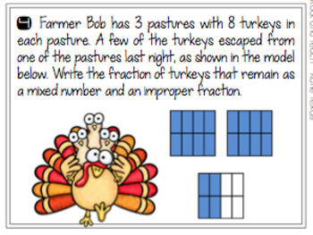 Fractions: Mixed Numbers & Improper Fractions Thanksgiving Theme