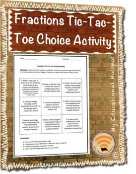 Fractions Tic-Tac-Toe Choice Activity