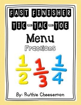 Fractions Tic Tac Toe Choice Menu