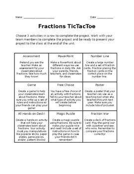 Fractions TicTacToe Extension Project