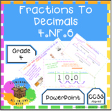 Fractions To Decimals PowerPoint (4.NF.6)