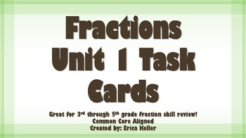 Fractions Unit 1 Task Cards FREEBIE