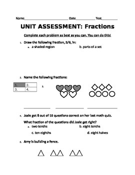 Fractions Unit Assessment