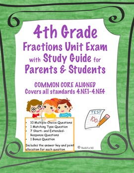 4th Grade Fractions Unit Test ~ Common Core Aligned