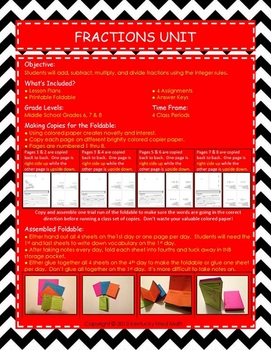 Fractions Unit Operations w Rational No. Printable Foldable Interactive Notebook