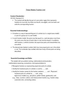 Fractions Unit Plans