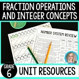 Fraction Operations and Integer Concepts Unit Resources : 6th Grade