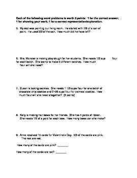 Fractions Unit Test 5th Grade Common