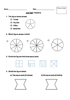 Fractions Unit Test Grade 3-4